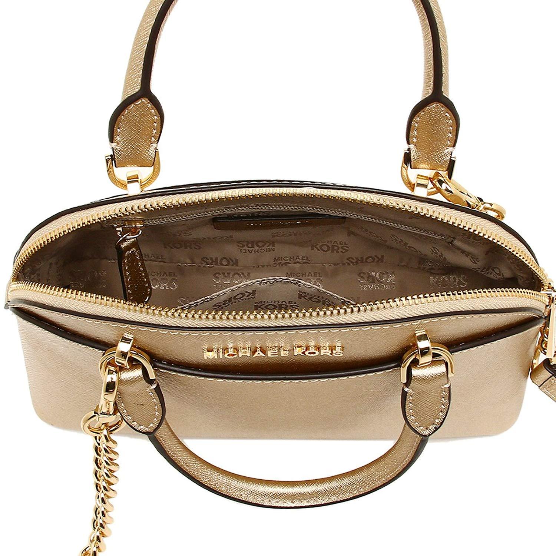 Michael Kors Emmy Small Dome Leather Satchel Crossbody Bag Gold   35H7MY3S1M 785feebeacb8f