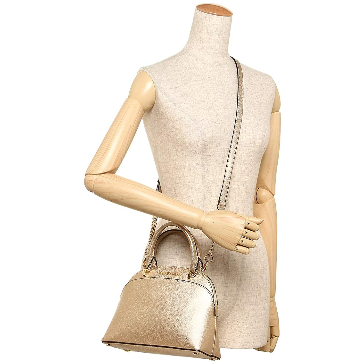 a7253b404f Michael Kors Emmy Small Dome Leather Satchel Crossbody Bag Gold   35H7MY3S1M