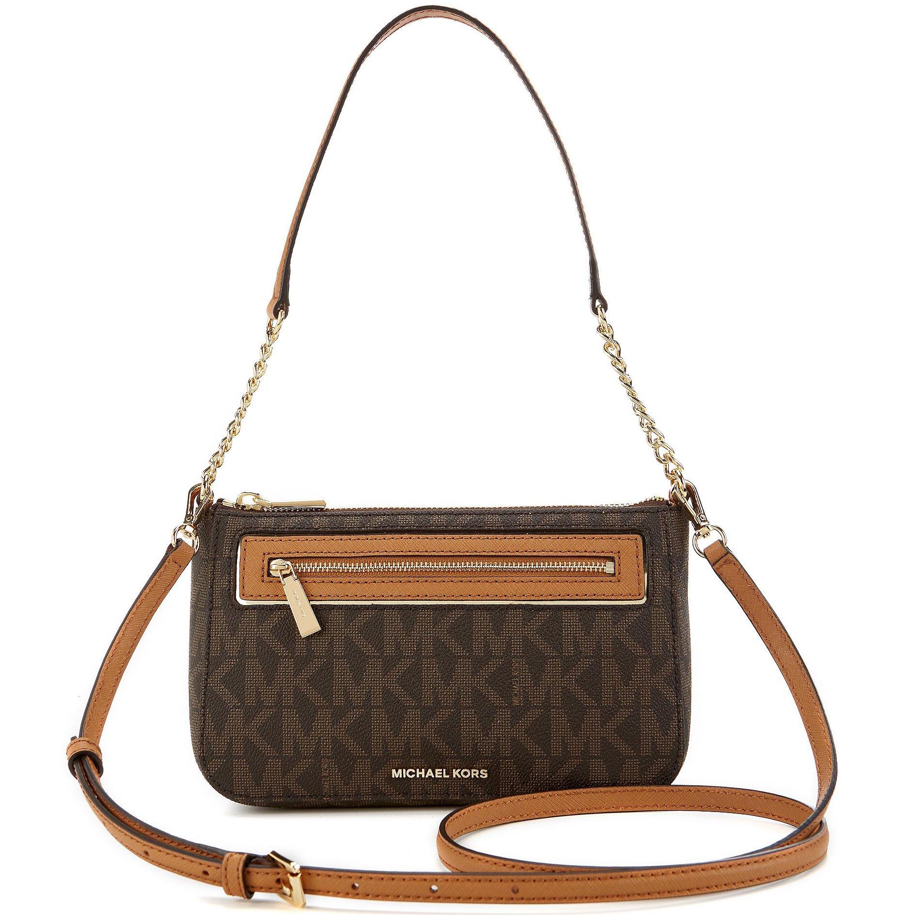 Michael Kors Frame Out Item Medium Convertible Pouchette Crossbody Brown # 32H6GFJU2B