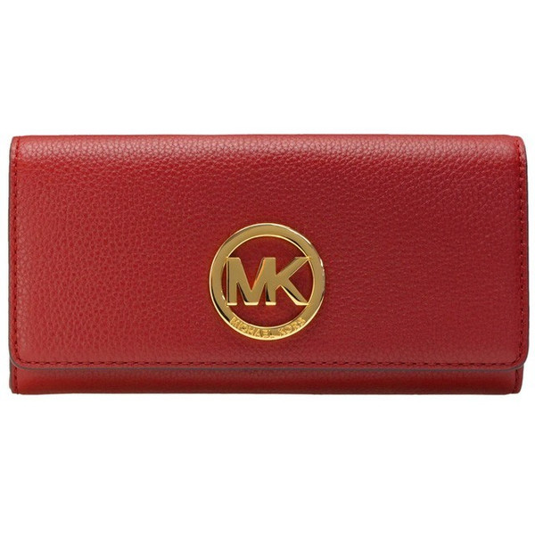 Michael Kors Fulton Flap Carryall Leather Wallet Cherry Red # 32F2GFTE3L