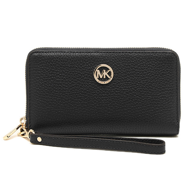 Michael Kors Fulton Large Flat Multifunctional Leather Phone Case Wristlet Black # 35H5GFTE3L