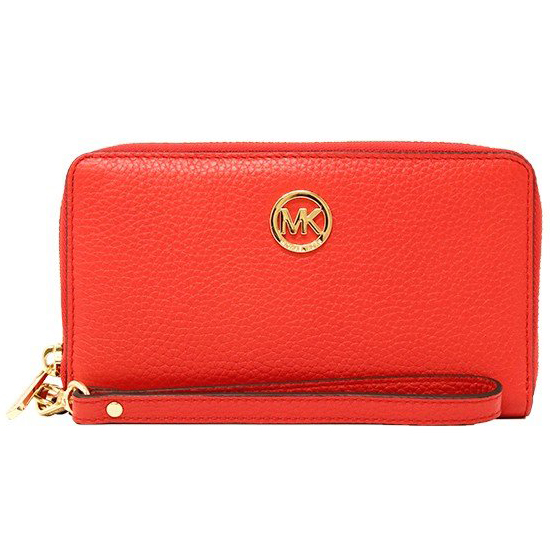 Michael Kors Fulton Large Flat Multifunctional Leather Phone Case Wristlet Dark Sangria Red # 35H5GFTE3L