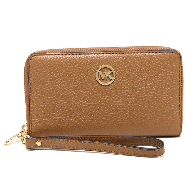 Michael Kors Fulton Large Flat Multifunctional Leather Phone Case Wristlet Luggage Brown # 35H5GFTE3L