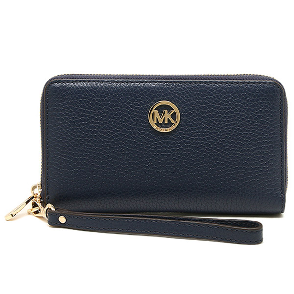 Michael Kors Fulton Large Flat Multifunctional Leather Phone Case Navy Blue # 35H5GFTE3L
