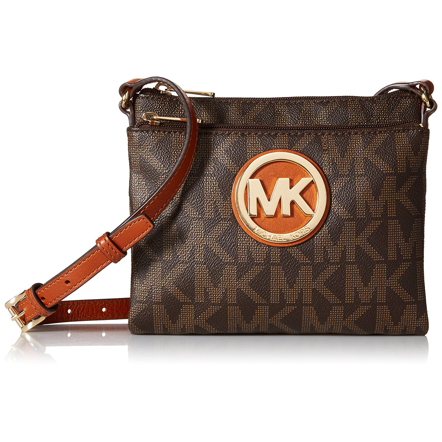 Michael Kors Fulton Large Signature Crossbody Bag Brown # 35F3GFTC3B