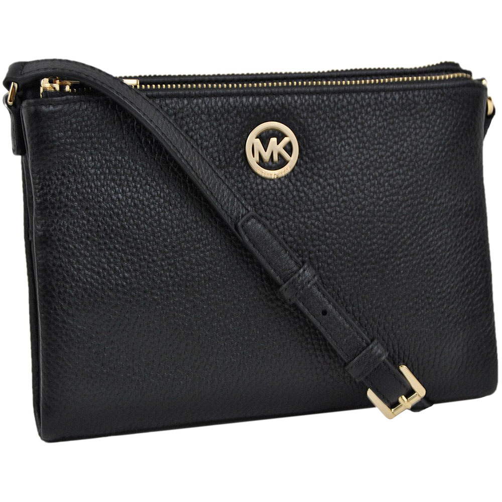 Michael Kors Fulton Leather East West Crossbody Bag Small Logo Black # 35T6GFTC7L