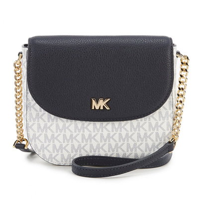 Michael Kors Half Dome Crossbody Bag White / Navy Dark Blue / Admiral # 32S8GF5C0B