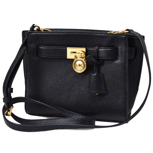 Michael Kors Hamilton Leather Traveler Messenger Crossbody Bag Black # 35S6GHXM2L
