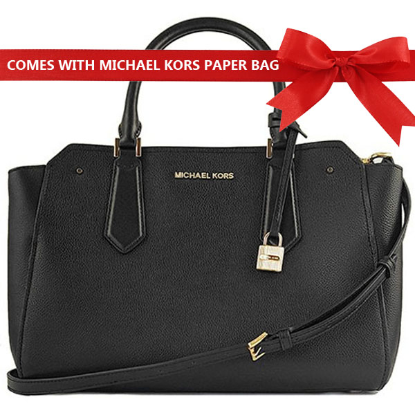 Michael Kors Hayes Large Leather Satchel Bag Black # 35F8GYES3T