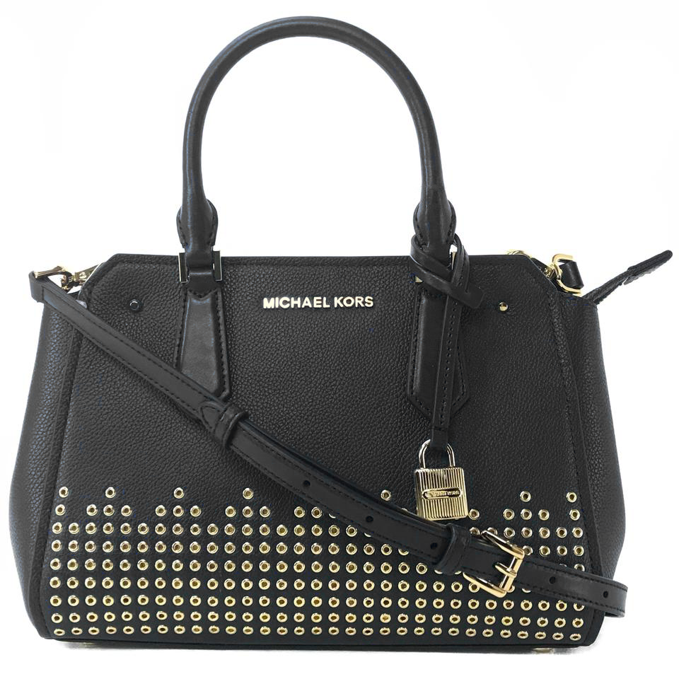 Michael Kors Hayes Medium Messenger Satchel Studded Crossbody Bag Black # 35F8GYEM6T