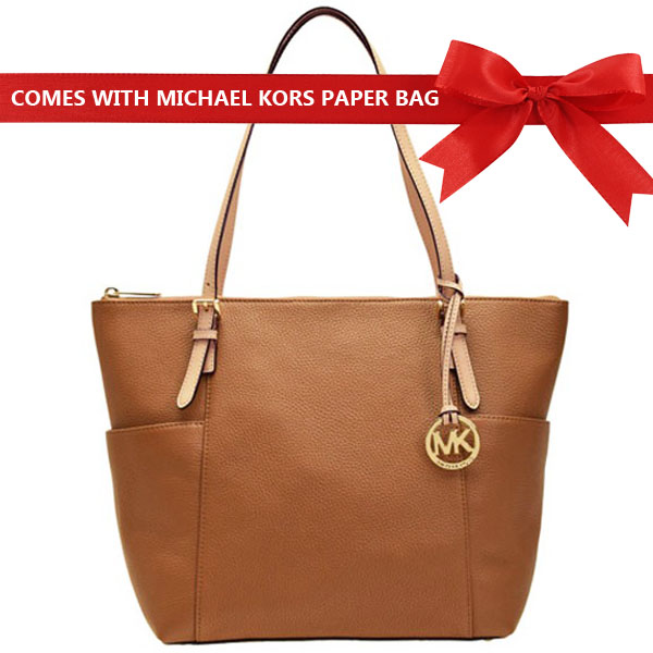 Michael Kors Jet Set East West Large Top Zip Tote Acorn Brown # 35T2GTTT8L