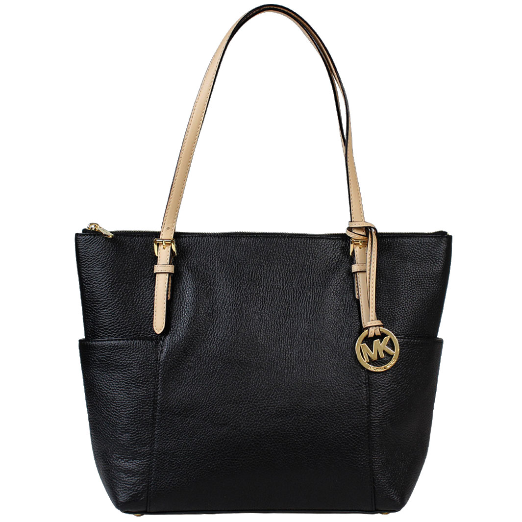 Michael Kors Jet Set East West Leather Tote Black # 35T2GTTT8L