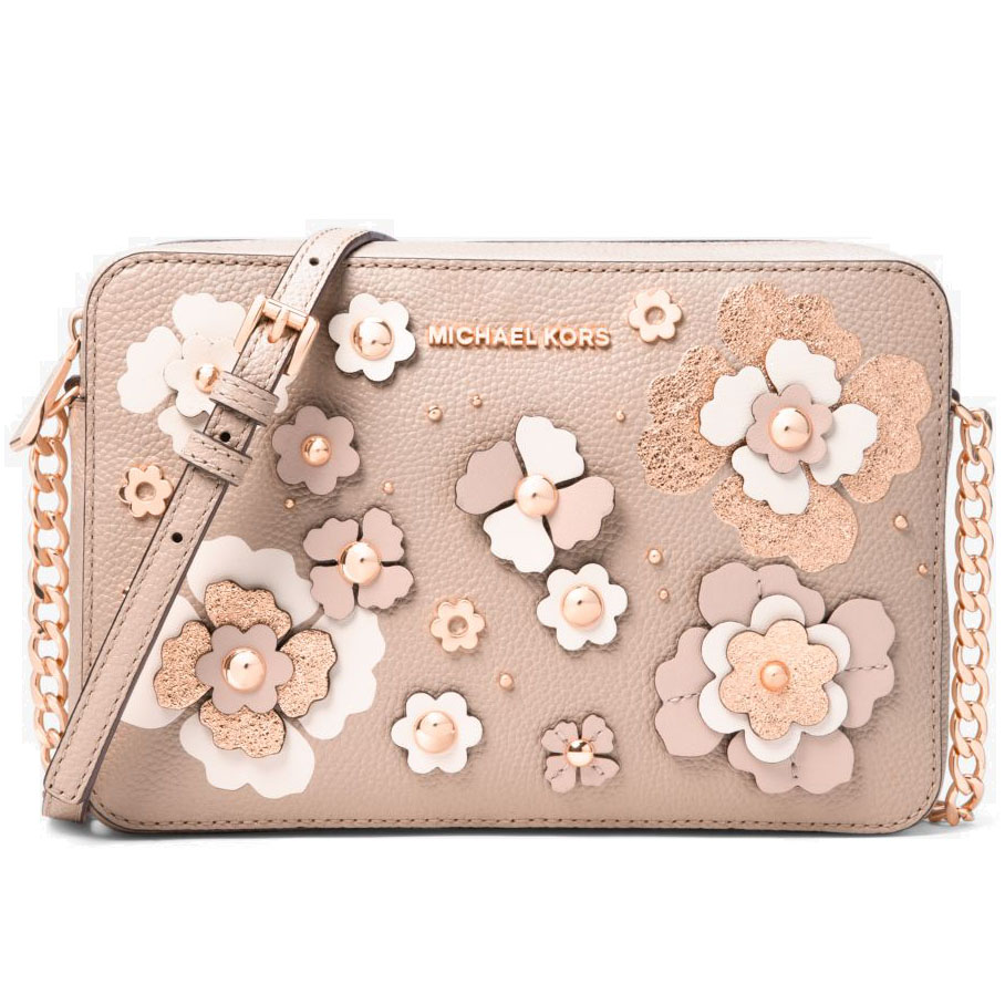 Michael Kors Jet Set Floral Embellished Leather Crossbody Bag Soft Pink Multi # 32S8TF5C7U