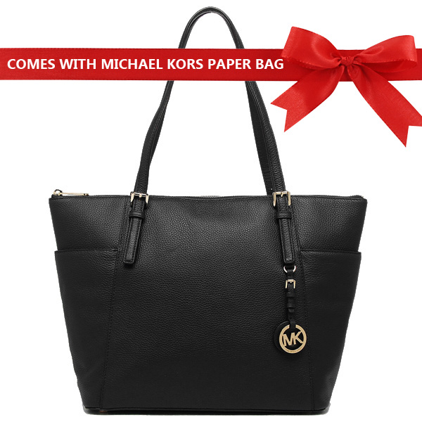 Michael Kors Jet Set Large East West Leather Top Zip Tote Black # 35H7GTTT7L