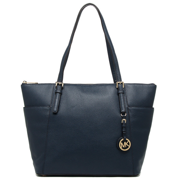 Michael Kors Jet Set Large East West Leather Top Zip Tote Navy Blue # 35F6GTTT9L