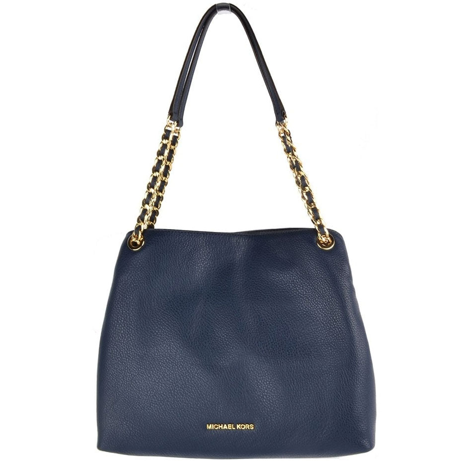 Michael Kors Jet Set Large Shoulder Leather Tote Navy Blue # 35F7GTTE3L