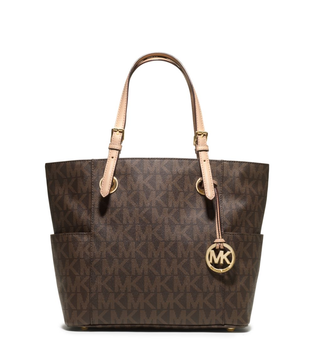Michael Kors Jet Set Signature Logo Tote Brown # 30S11TTT4B