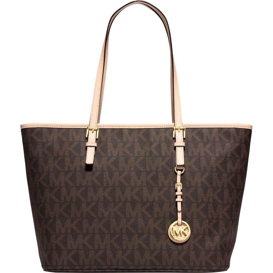 Michael Kors Jet Set Top Zip Large Signature Travel Tote Brown # 30H6GTTT4B