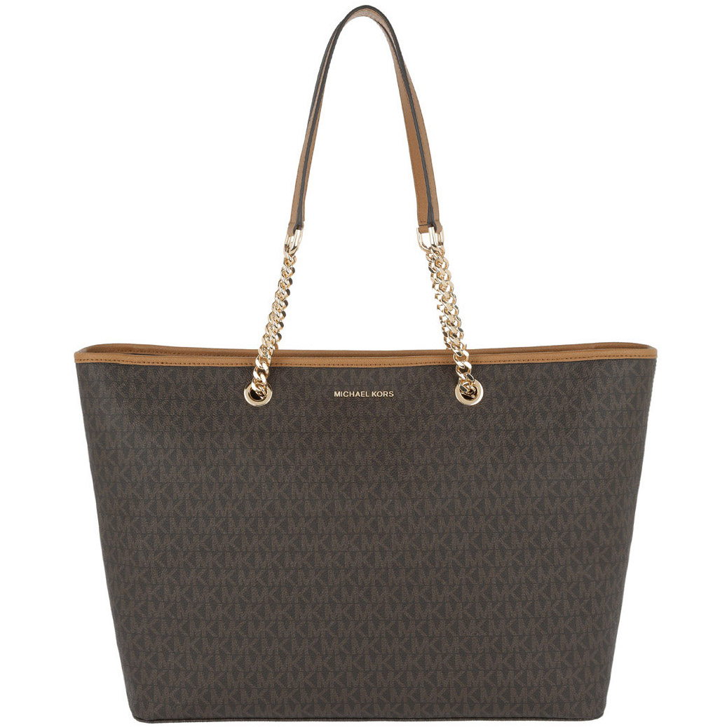 Michael Kors Jet Set Travel Chain Medium Top Zip Multifunctional Tote Brown # 30S7GJ8T2V