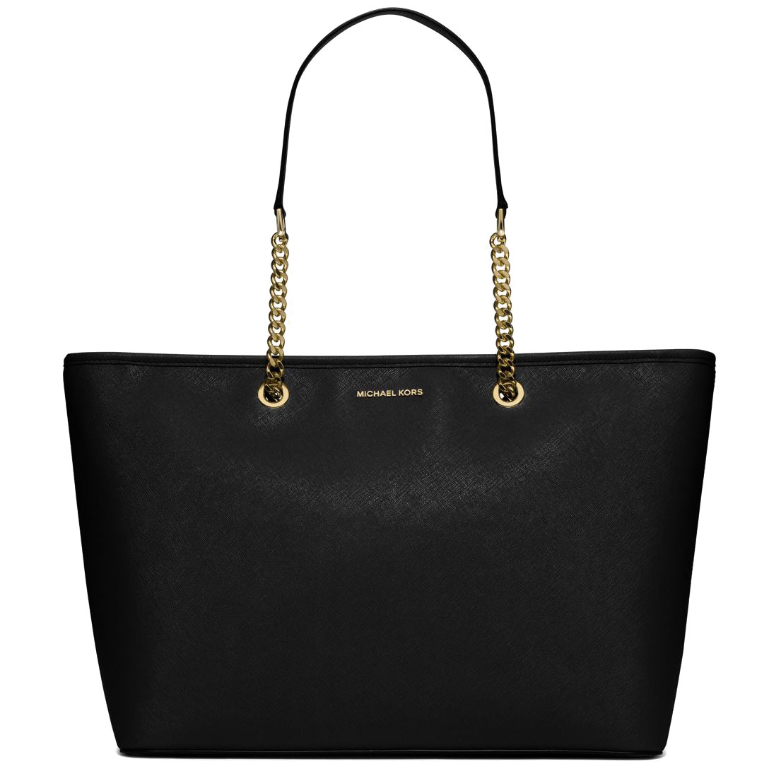 Michael Kors Jet Set Travel Chain Medium Top Zip Multifuntional Saffiano Leather Tote Shoulder Bag Black # 30S6GJ8T2L