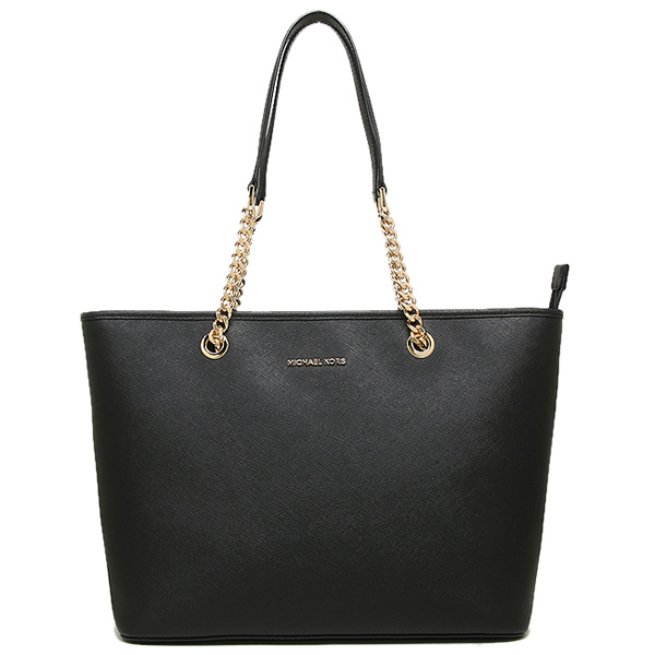 Michael Kors Jet Set Travel Chain Top Zip Multifunctional Leather Tote Shoulder Bag Black # 30T6GJ8T6L