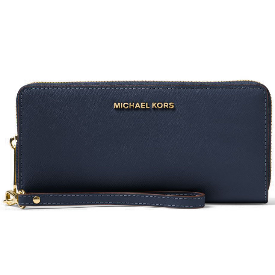 Michael Kors Jet Set Travel Continental Leather Wallet Wristlet Navy Blue # 32S5GTVE9L