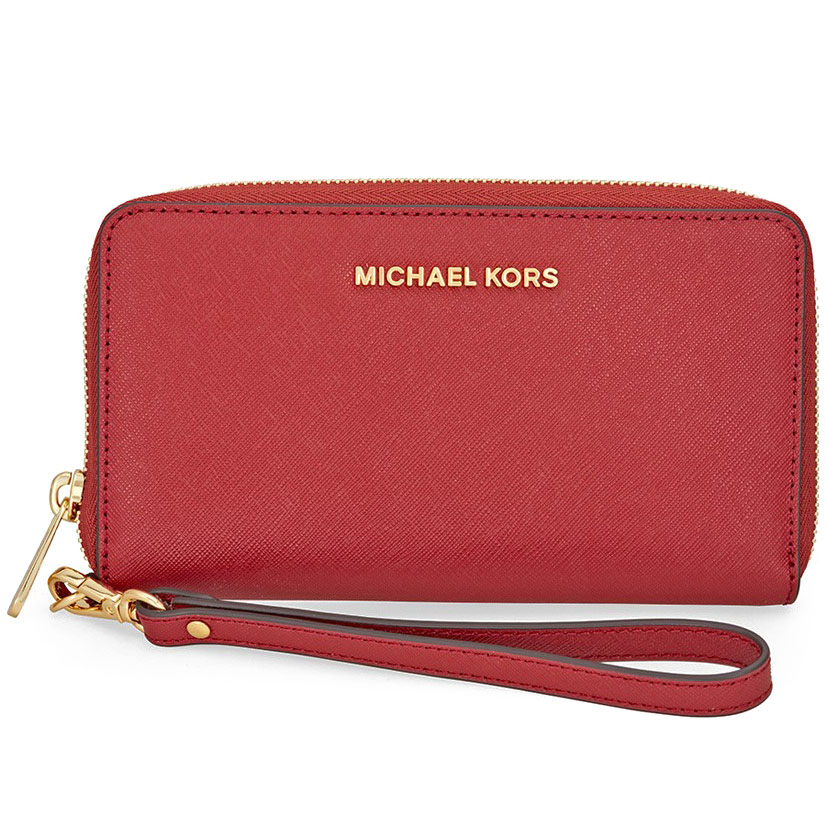 Michael Kors Jet Set Travel Large Flat Multifunctional Leather Phone Case Wristlet Burnt Red # 32H4GTVE9L