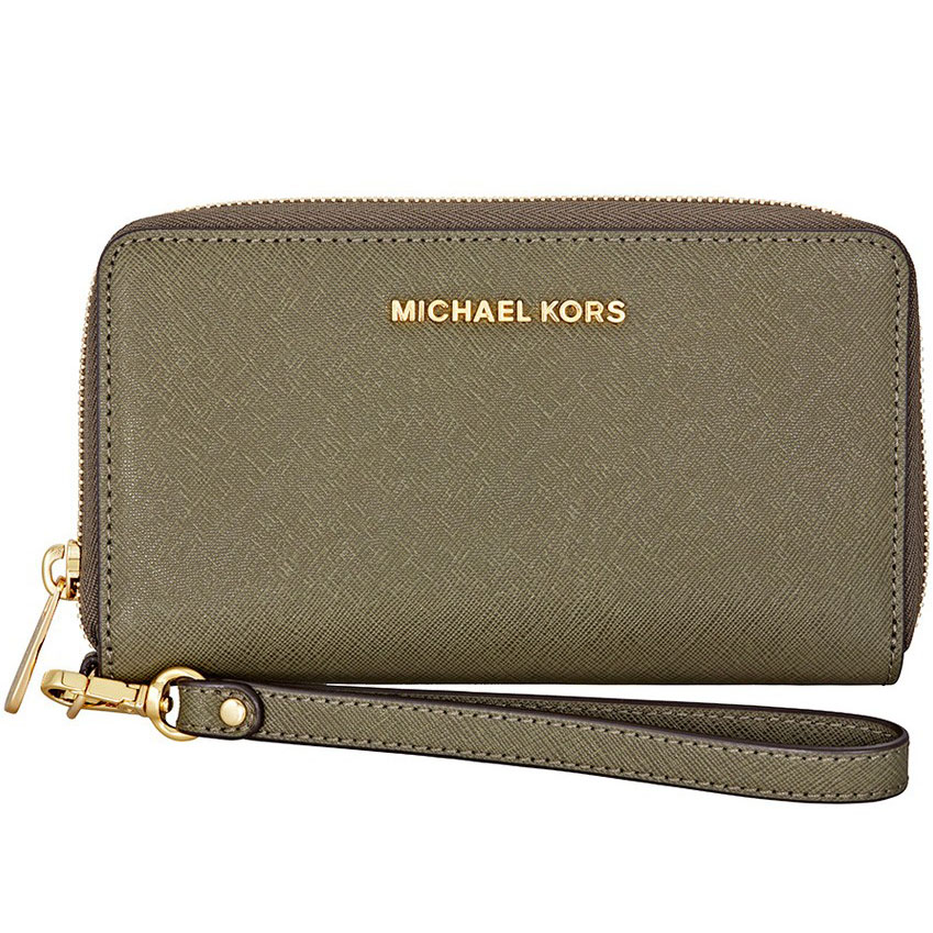 Michael Kors Jet Set Travel Large Flat Multifunctional Leather Phone Case Wristlet Olive Green # 32H4GTVE9L