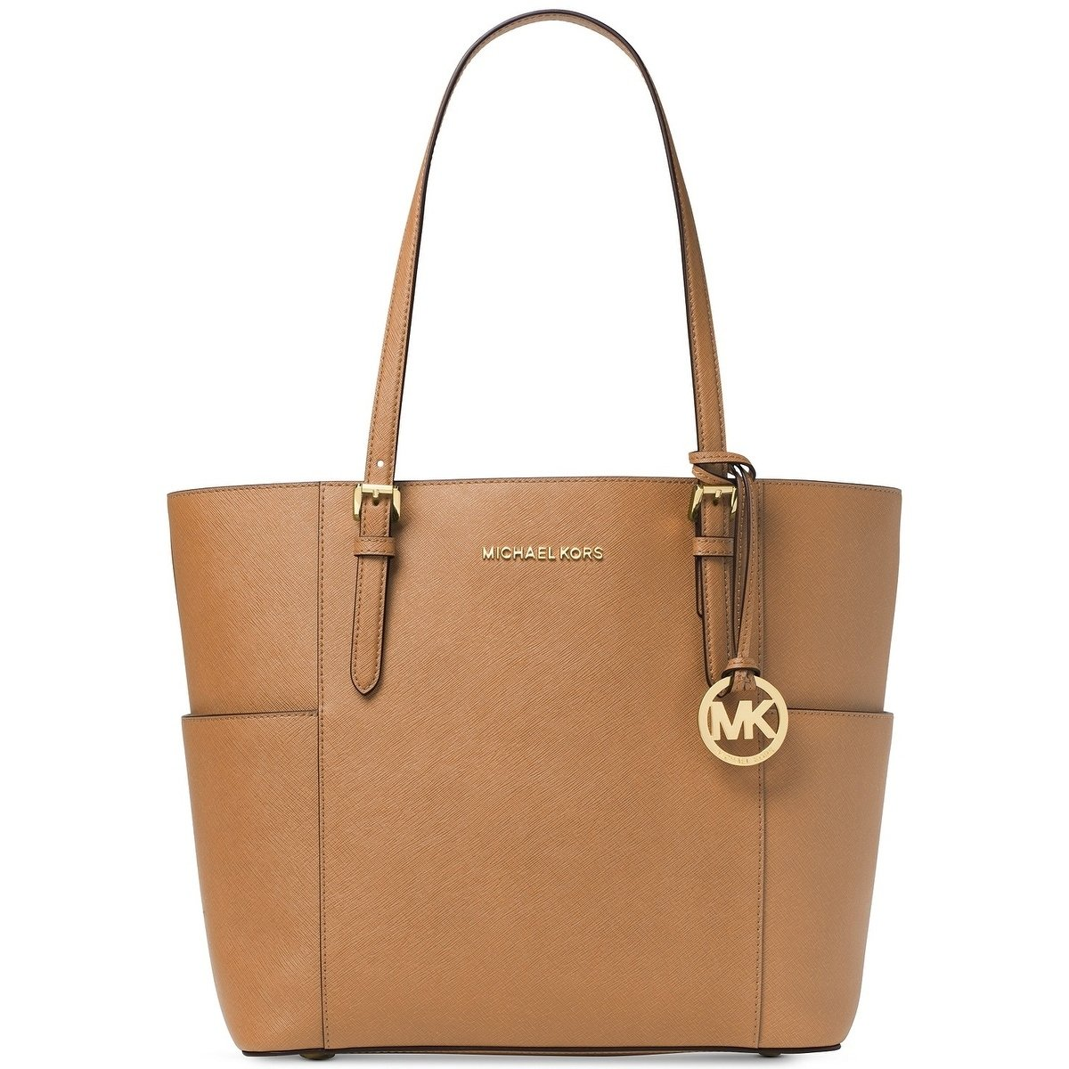 Michael Kors Jet Set Travel Large Leather Tote Acorn Brown # 30T6GTVT3L