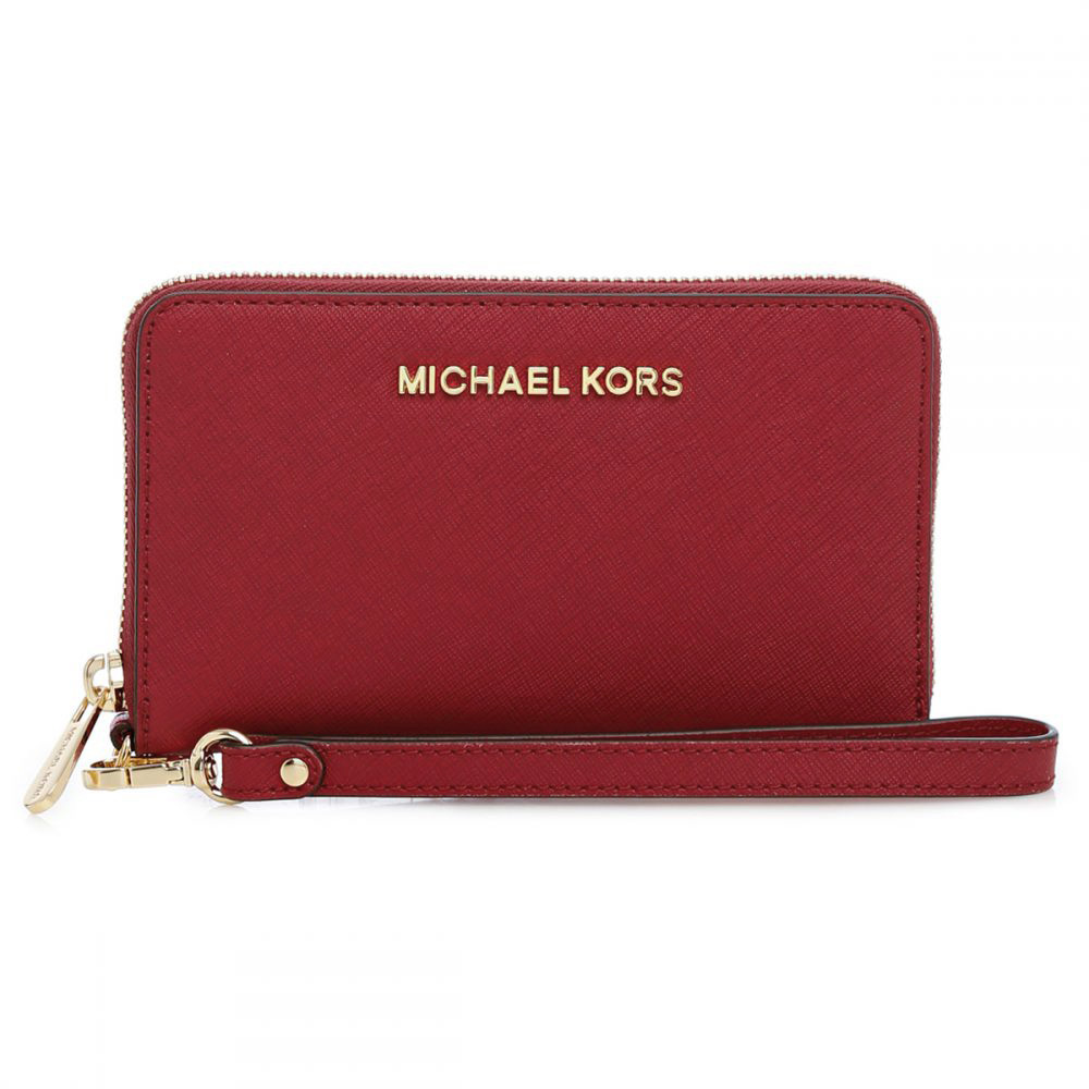 Michael Kors Jet Set Travel Large Smartphone Leather Phone Case Cherry Red # 32H4GTVE9L