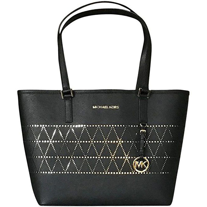 Michael Kors Jet Set Travel Medium Carryall Leather Tote Black # 35H7GTVT6L