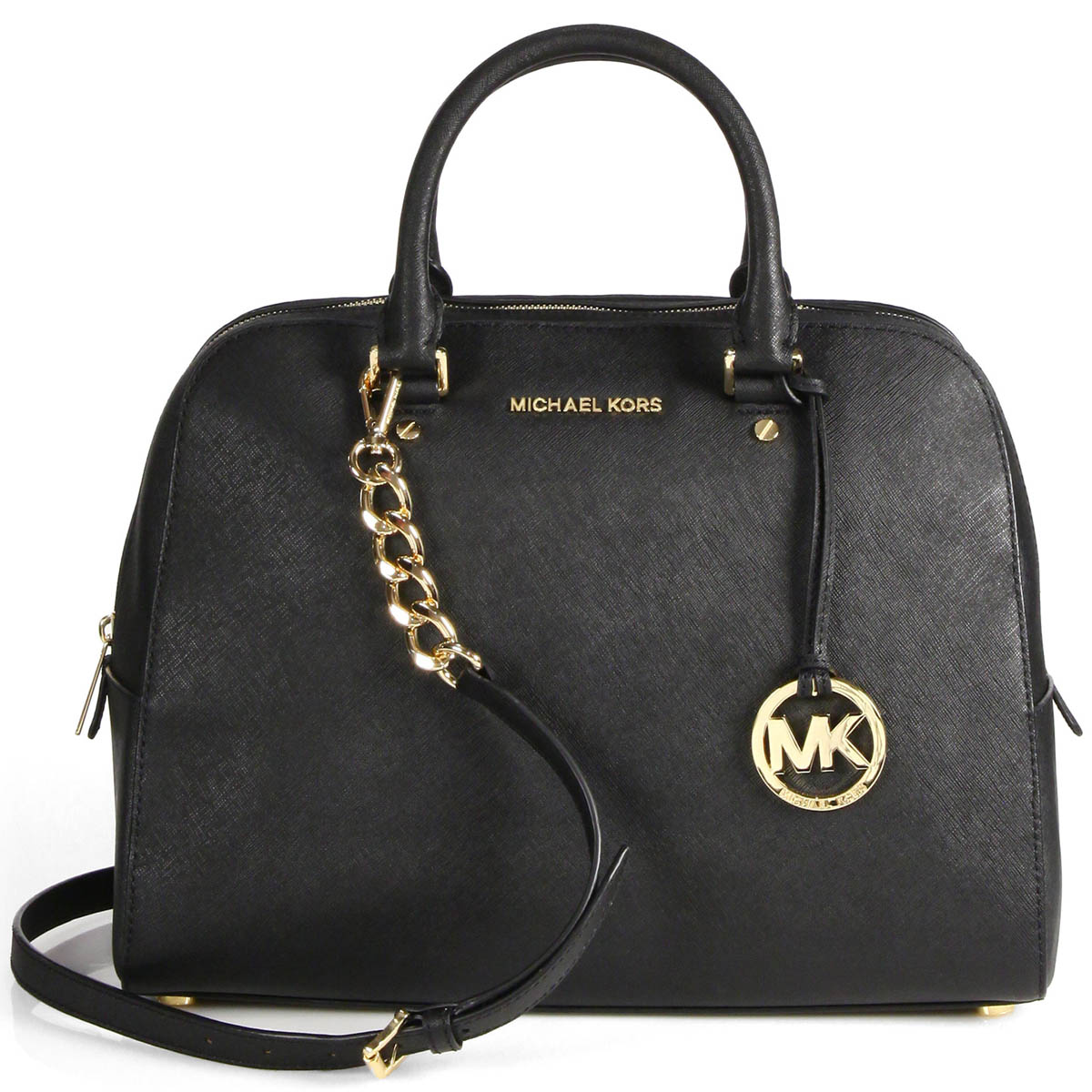 Michael Kors Jet Set Travel Medium Leather Satchel Black # 38H6GTVS2L