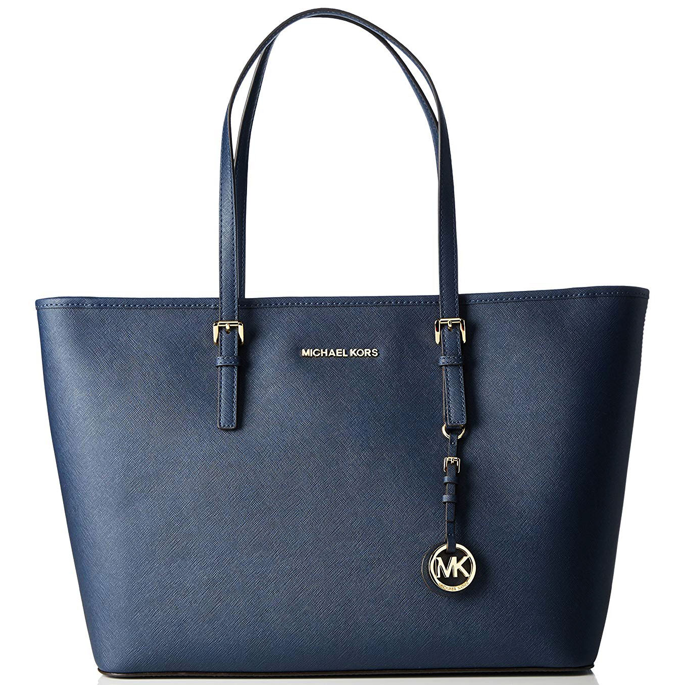 Michael Kors Jet Set Travel Medium Top Zip Multifunctional Saffiano Leather Tote Navy Blue # 30T5GTVT2L