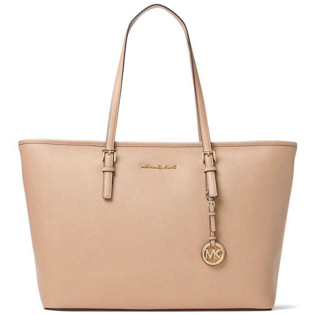 Michael Kors Jet Set Travel Medium Top Zip Multifunctional Saffiano Leather Tote Oyster Beige Nude # 30T5GTVT2L