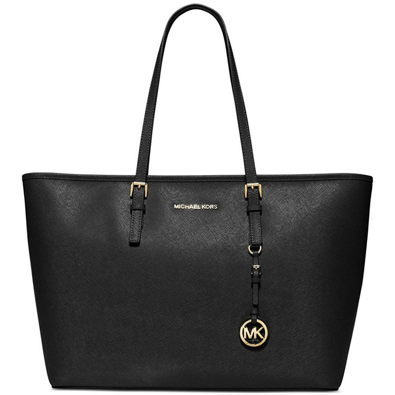Michael Kors Jet Set Travel Saffiano Leather Medium Tote Black # 38F6GTVT2L