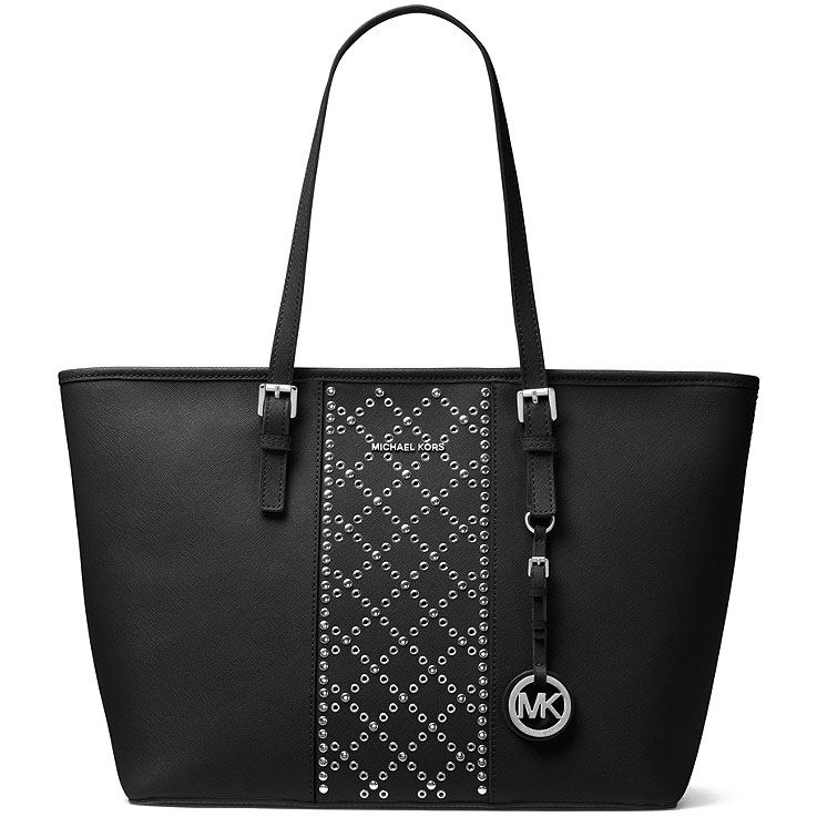Michael Kors Jet Set Travel Top Zip Leather Tote Black # 30F7STVT2U
