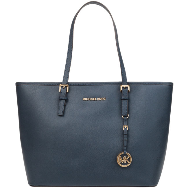 Michael Kors Jet Set Travel Top Zip Leather Tote Navy Blue # 38F7GTVT3L