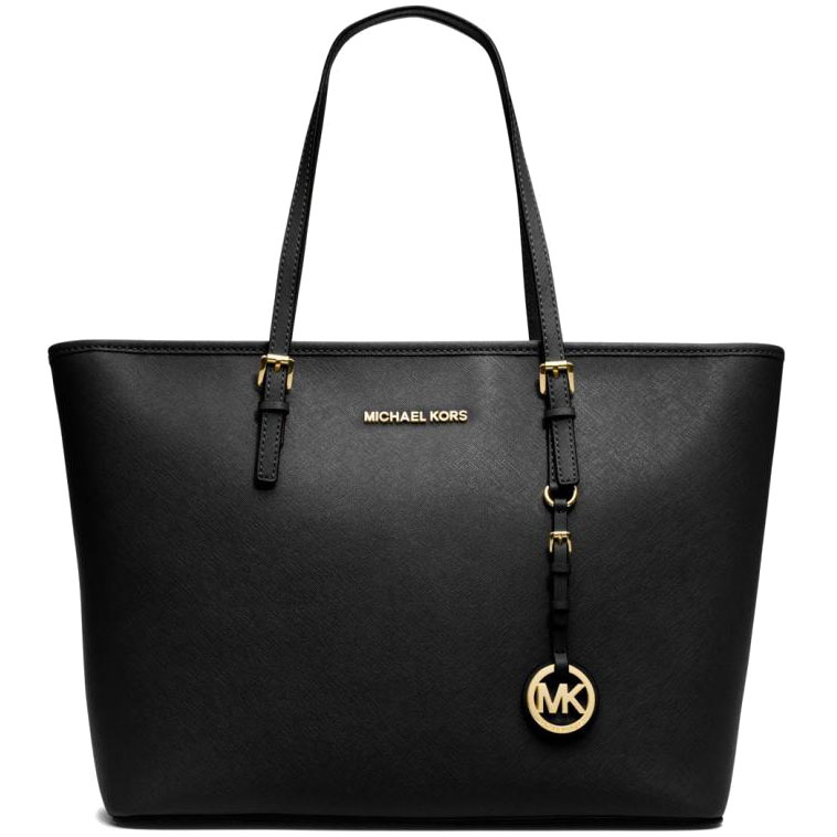 Michael Kors Jet Set Travel Top Zip Leather Tote Shoulder Bag Black # 38F6GTVT3L