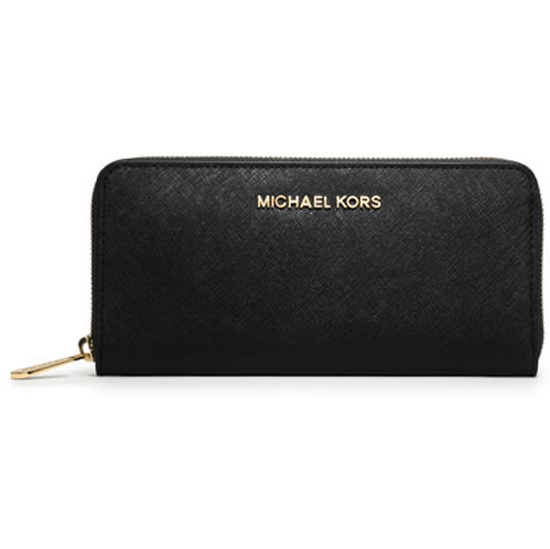 Michael Kors Jet Set Zip Around Continental Travel Wallet Black # 32S3GTVE3L