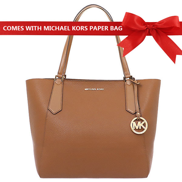 Michael Kors Kimberly Large Bonded Leather Tote Luggage Brown # 35T8GKFT7T