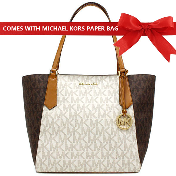 Michael Kors Kimberly Large Bonded Signature Tote Bag Vanilla White / Brown Acorn # 35T8GKFT7B