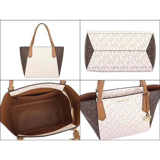 61d14e99683e Michael Kors Kimberly Large Bonded Signature Tote Bag Vanilla White / Brown  Acorn # 35T8GKFT7B