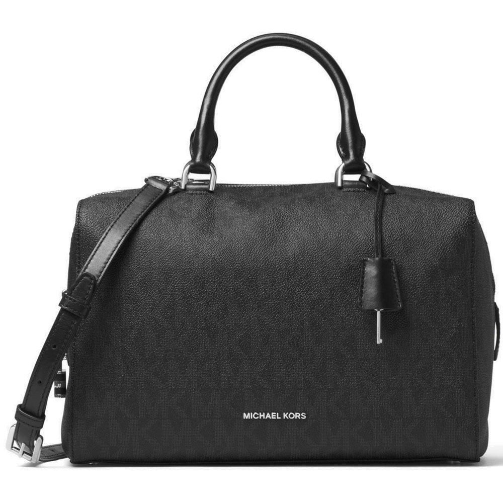 Michael Kors Kirby Large Satchel Crossbody Bag Black # 30T6SK3S3B