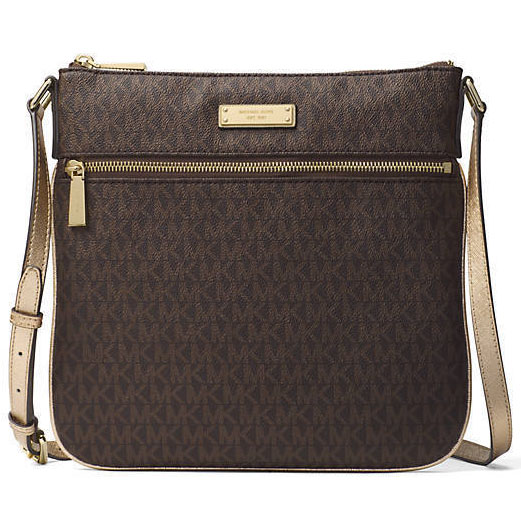 Michael Kors Large Flat Crossbody Bag Brown / Gold # 32H7MF5C7B