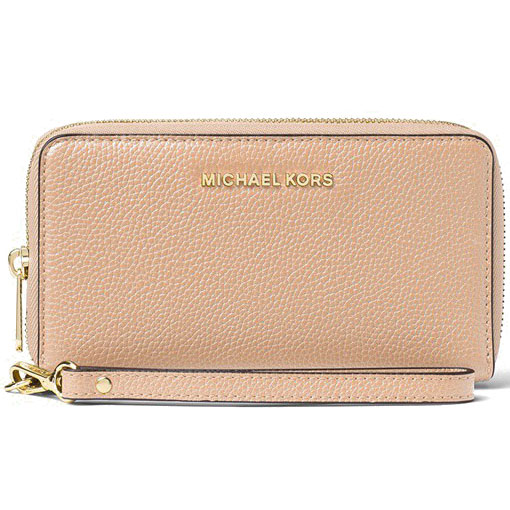 Michael Kors Large Flat Multifunctional Leather Phone Case Wristlet Oyster Beige Nude # 32F6GM9E3L