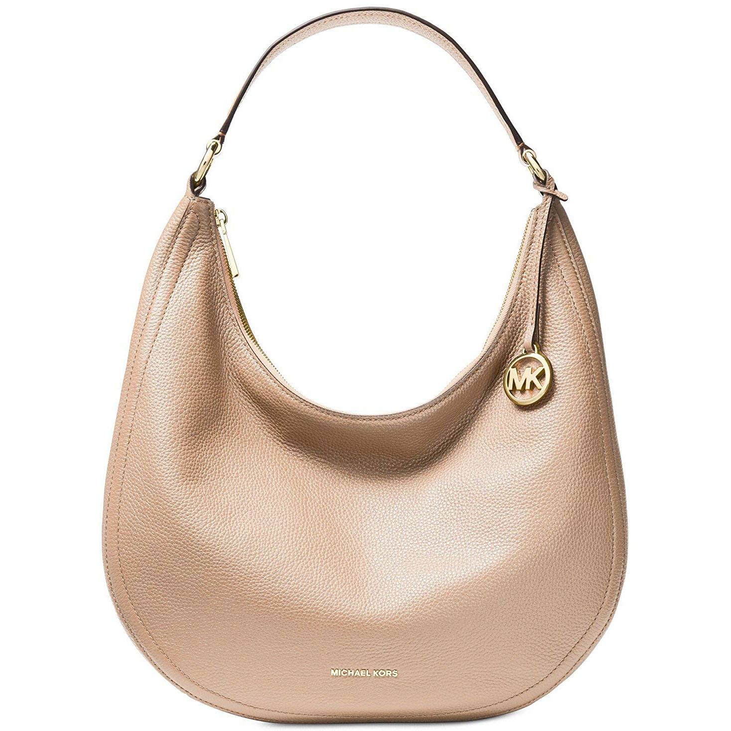 Michael Kors Lydia Large Leather Hobo Bag Oyster Beige Nude # 38S8GLOH7L
