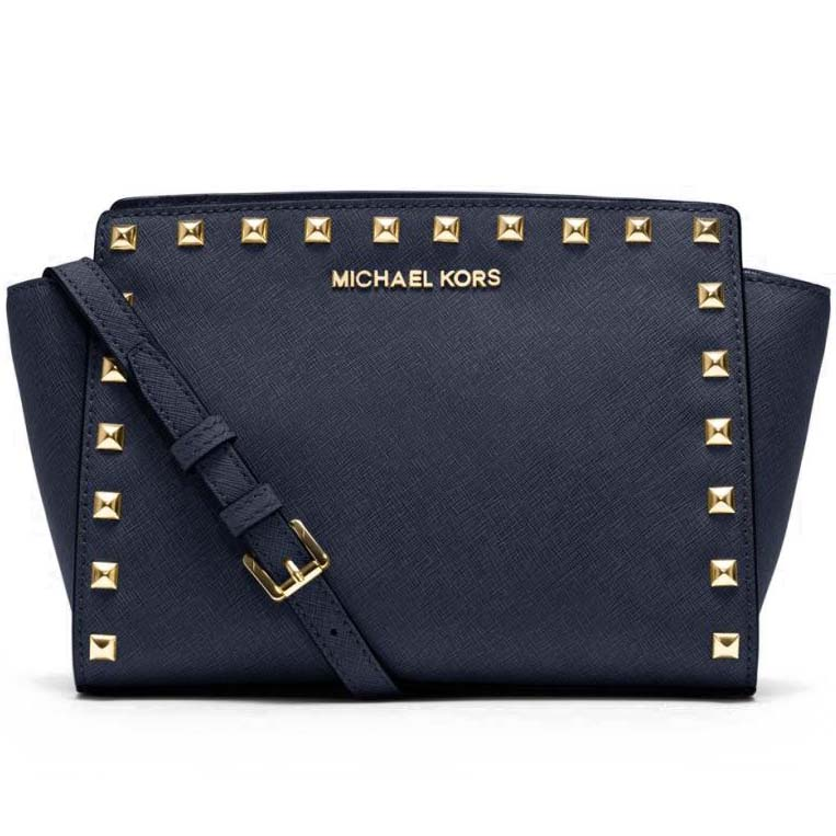 Michael Kors Medium Messenger Selma Stud Leather Satchel Crossbody Bag Navy Blue # 30T3GSMM2L