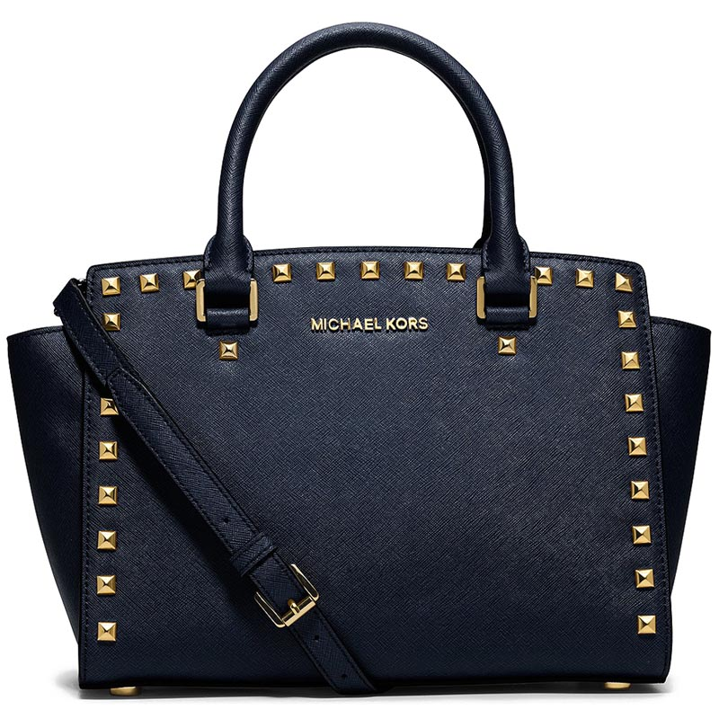 Michael Kors Medium Selma Stud Top Zip Saffiano Leather Satchel Navy # 30T3GSMS2L
