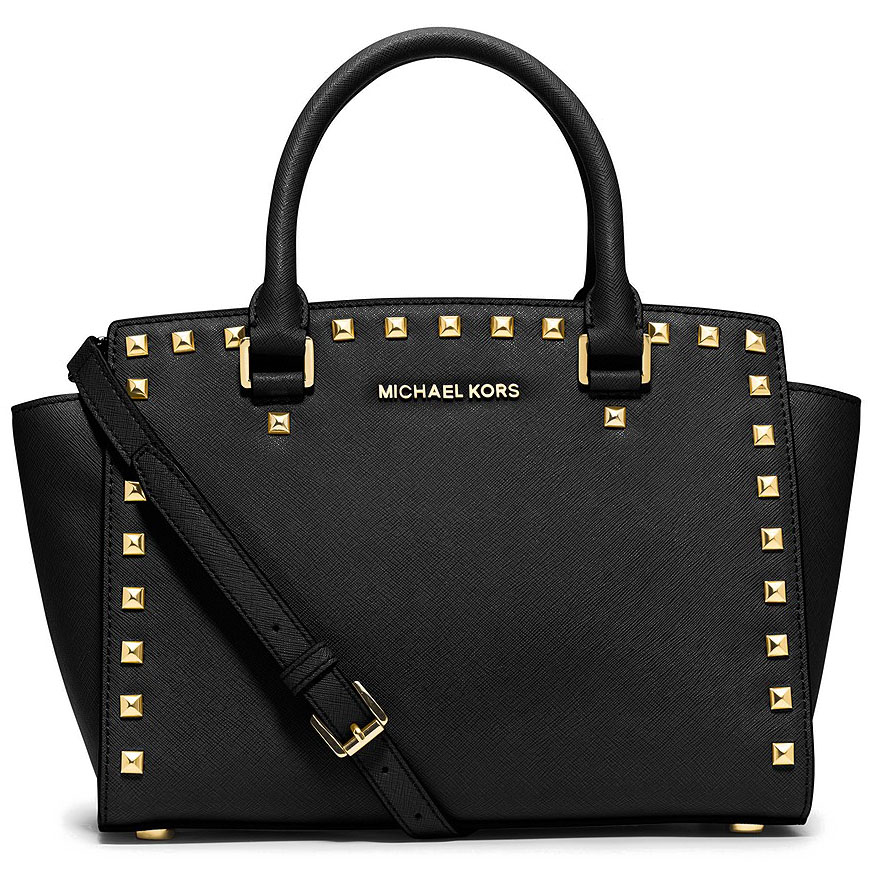Michael Kors Medium Top Zip Selma Stud Leather Satchel Black # 30T3GSMS2L