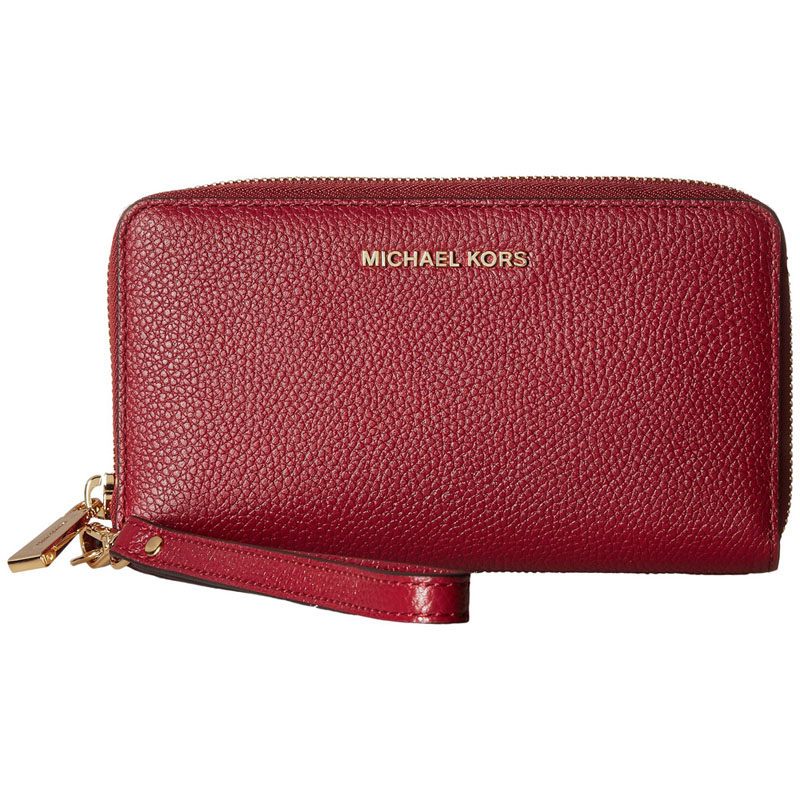 Michael Kors Mercer Large Flat Multifunctional Leather Phone Case Wristlet Burnt Red # 32F6GM9E3L